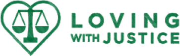 Loving With Justice in green with heart and scale