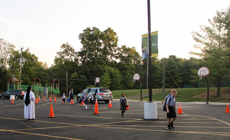 elementary school students at drop off